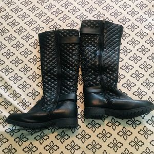 Classic Black Boots with Lace Up Back & Buckle